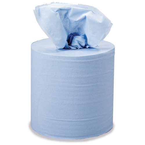Blue 2 Ply Embossed Centrefeed Roll